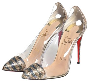 Christian Louboutin Debout Pointed Toe Glitter Animal Print Silver, Clear, Gold Pumps