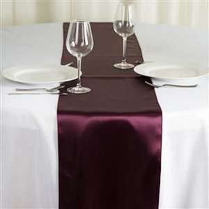 Tablecloths Factory Eggplant Satin Table Runner - 24 Count Tablecloth