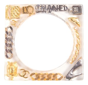 Chanel Chanel,Clear,Lucite,Square,Bangle,With,Silver,And,Gold,Charm,Detail