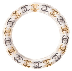 Chanel Chanel Silver & Gold Lucite Bangle Bracelet