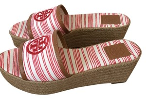 Tory Burch Red Pepper and ivory Wedges