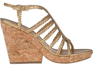 Kate Spade Felix Cork Gold Wedges