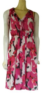 Ann Taylor LOFT short dress Pink Abstract Ruffles Chiffon on Tradesy