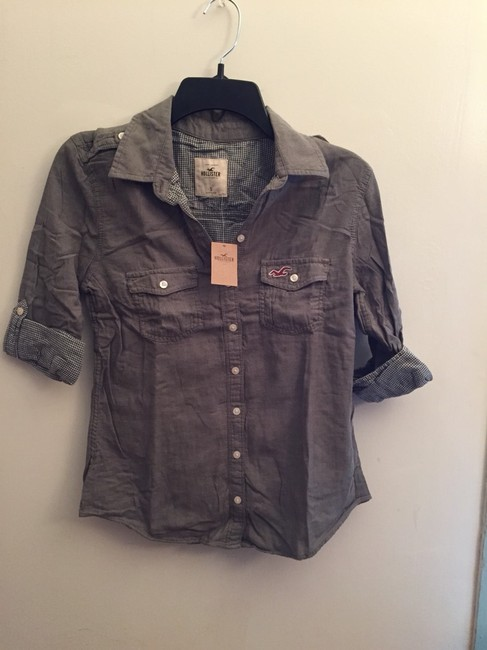 Hollister Button Down Shirt Army Green Image 1
