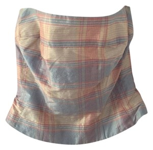 Shoshanna Pink, blue & ivory plaid Halter Top