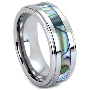 Portofino Tungsten Band With Abalone Shell Inlay. 6mm Rings Made To Order Sizes 5-8 + Half Sizes- Select Size