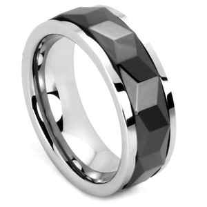 Portofino Tungsten Band With Spinning Black Prism 8-mm Sizes 9-13 Made To Order Free Shipping