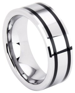 Portofino Tungsten Unisex Band With Spinning Black Prism 8-mm Sizes 5-15 Made To Order Free Shipping