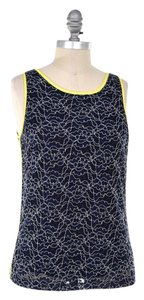 Banana Republic Lace Citrine Trim Sleeveless Top Navy