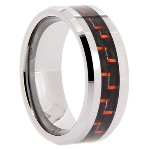 Portofino Unique Men's Tungsten Band Red CarbonFfiber Inlay 8-mm Sizes 8-13 + Half Sizes Made To Order