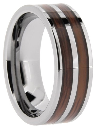 Portofino Tungsten Band Custom Double Wood Inlay 8-mm Sizes 7-13 + Half Sizes Made To Order