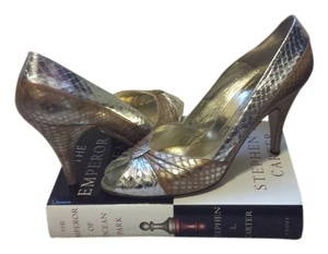 Bruno Magli Snakeskin Silver and Gold Pumps
