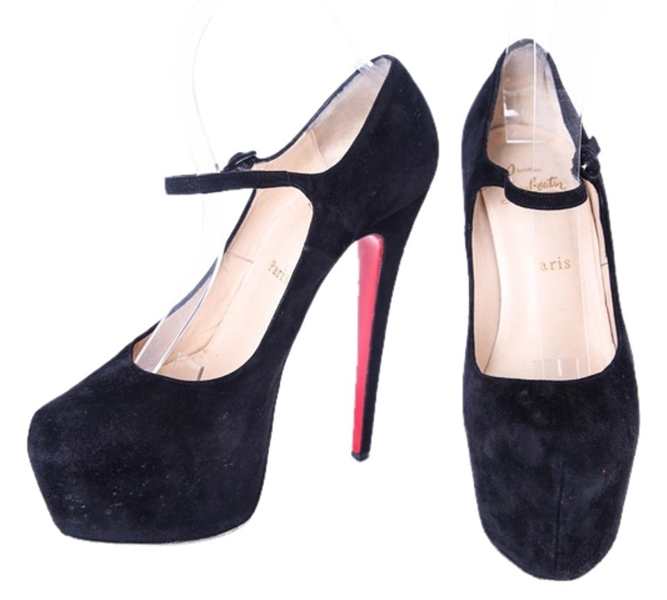 08bc3af2ffdc Christian Louboutin Black Lady Daf 160mm Suede Mary Jane Pumps 38.5 8.5  Platforms