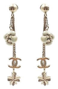 Chanel Chanel Gold Mini Motif Camellia Clover CC Dangle Piercing Earrings