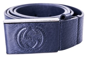 Gucci *Gucci leather belt with leather covered plaque buckle MENS Size 90/36