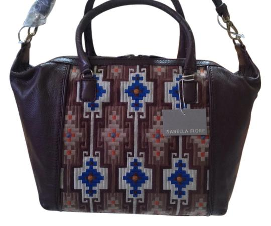 Isabella Fiore Leather Tapestry Optional Long Strap Satchel in Espresso