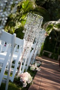 Lot Of 10 Tall Wedding Ceremony Aisle Runner Decoration & Chandelier Acrylic Crystal Beaded Chandelier Clearance