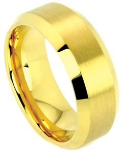 Portofino Impressive Gold IP Tungsten Band Satin Finished Center Mirror Edges 8-mm Sizes 7-13 Plus Half Sizes Made To Order