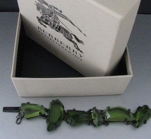 Burberry Prorsum NEW $895 RUNWAY-FEATURED GREEN GEOMETRIC GEMSTONE STATEMENT BRACELET