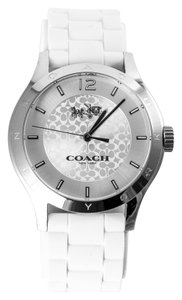 Coach * MADDY STAINLESS STEEL 40MM WHITE RUBBER STRAP WATCH, STYLE W6033