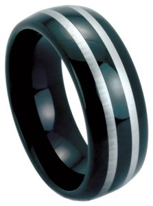 Portofino Men's BlackTungsten Band Unique Eye Catching Two-Tone Design 8-mm Sizes 9-13 Made To Order