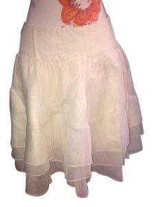 Ralph Lauren Blue Label Skater 100% Ruffled Tiered Skirt 100% IVORY SILK