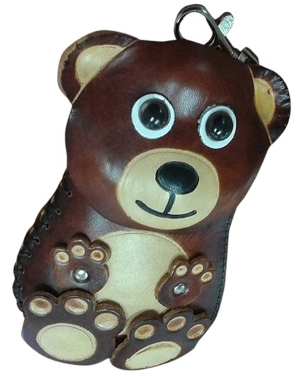 Impulses Handmade Leather Brown Bear Coin Purse with Keychain