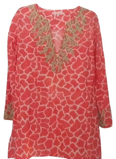 Item - Hot Salmon & White with Light Green & White Beading Coral Beaded Tunic Size 12 (L)