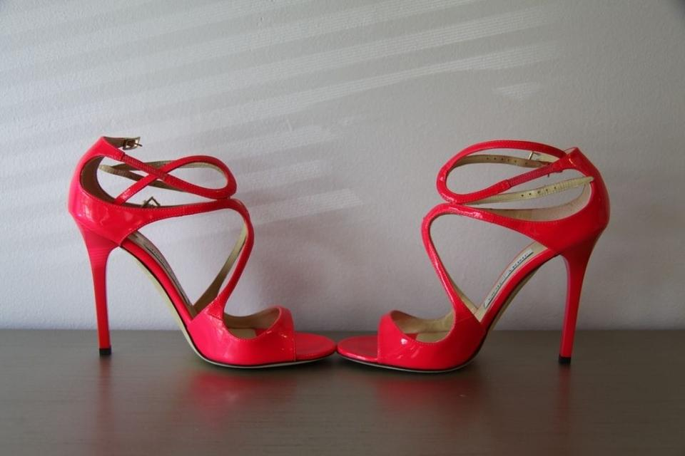 8aef4321cb1 Jimmy Choo Lance Pink Patent Leather Strappy 5 Sandals Size US 6.5 ...