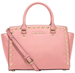 Michael Kors Studded Mk Satchel in Pale Pink