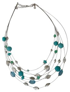 Marks & Spencer Marks & Spencer 7 STRAND SILVER BLUE & TURQUOISE BEADED NECKLACE NEW SIGNED - GORGEOUS!