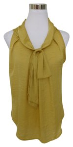 Adiva Career Crinkled Tie Scarf Top Yellow Gold