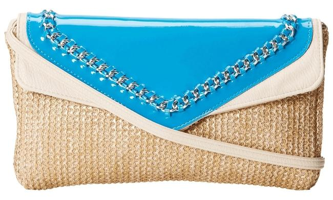 Item - Natural/Turquoise/Cream Faux Leather Clutch