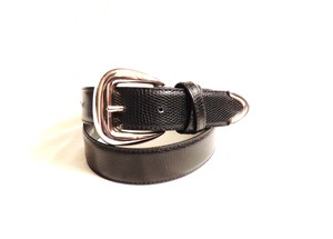 Other Black alligator style leather belt with silver buckle and tip end