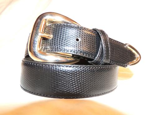 Other Black alligator style leather belt with silver buckle and tip end Image 2