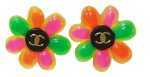 Chanel Authentic Vintage Rare Chanel Neon Rainbow Gummy Flower Clip on Earrings