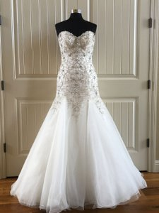 Maggie Sottero Ivory Pewter Accent Tulle Beaded Sasha Formal Wedding Dress Size 10 (M)