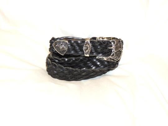 Other Black leather braided belt with silver buckle