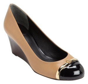 Tory Burch Patent Leather Gold Hardware Tan Wedges