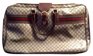 Gucci Vintage Leather Monogram Beige Travel Bag