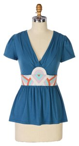 Anthropologie Deletta Turquoise Blue Top