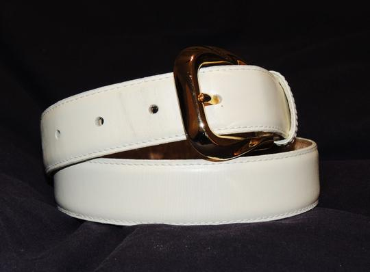 Other Honors cream colored leather belt with gold buckle Image 1