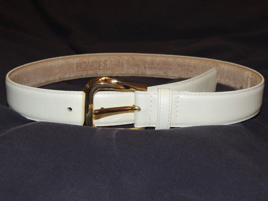 Other Honors cream colored leather belt with gold buckle Image 2