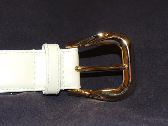 Other Honors cream colored leather belt with gold buckle Image 3