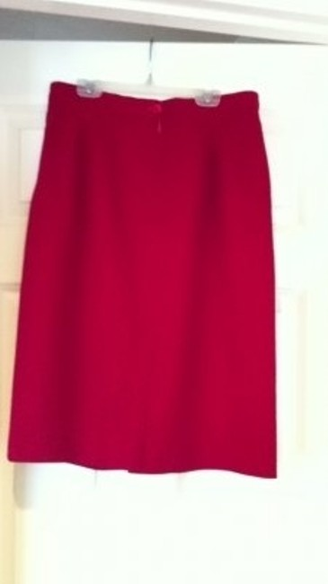 Red Vintage Summer Wool Work Skirt Size 12 (L, 32, 33) Red Vintage Summer Wool Work Skirt Size 12 (L, 32, 33) Image 3