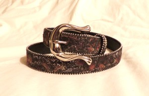 Unknown Multi-colored silver bead trimmed leather belt with silver hardware