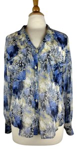Free People Hi Lo Floral Top Blue, beige, ivory