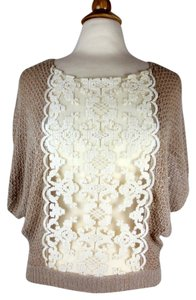 Free People Lace Crochet Gauze Top Sparkly Beige, Ivory