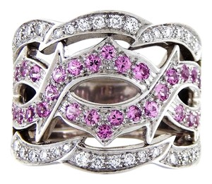 Stephen Webster 18k White Gold Swirl Diamonds & Pink Sapphires Cocktail Ring