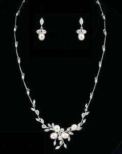 Freshwater Pearl And Cz Wedding Jewelry Set